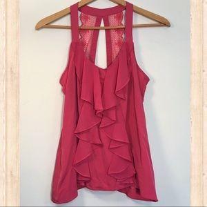 Lauren Conrad coral lace back ruffle blouse
